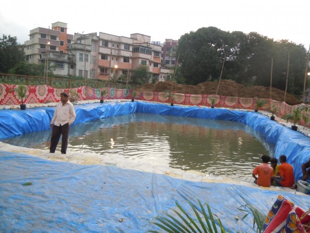 Construction of Artificial Pond for idol immersion during Ganesh Festival